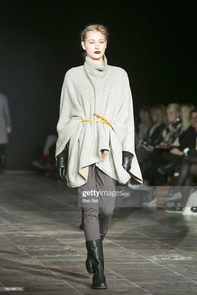 A model wears fashions designed by Danish Designer Noa Noa during Day 3 of Copenhagen Fashion Week on February 1, 2013 in Copenhagen, Denmark.