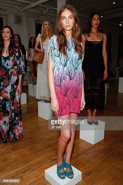 A model wears French Connection Spring/Summer 2015 Collection at Michelson Studio on November 5 2014 in New York City