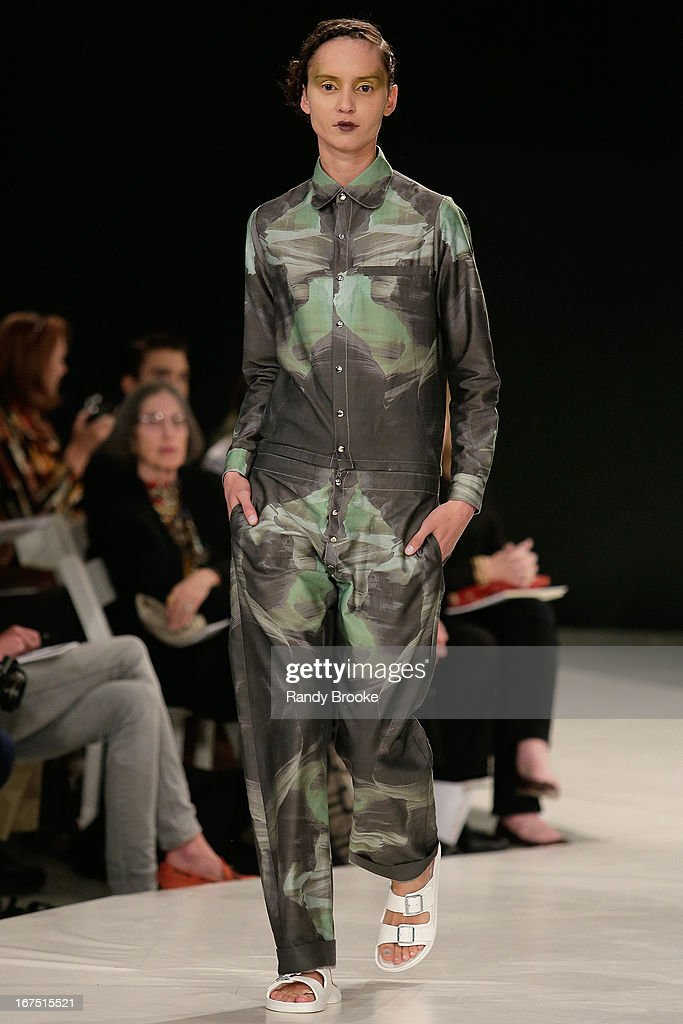A Model wears Kindall Almond designs during the 114th Annual Pratt Institute Fashion Show at Center 548 on April 25, 2013 in New York City.