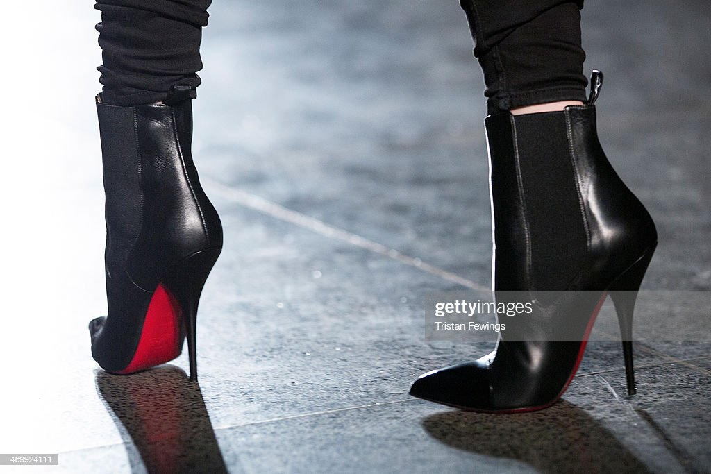 A model wears Louboutin shoes at the Johnathan Saunders show during London Fashion Week AW14 at Tate Britian on February 16 2014 in London England
