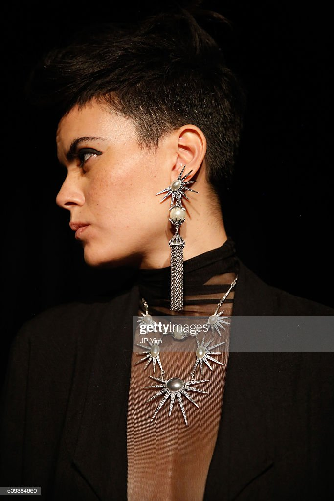 A model wears Lulu Frost during New York Fashion Week Fall 2016 at Highline Loft on February 10, 2016 in New York City.