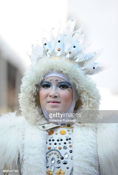 A model wears Pegasus outfit as part of Art Wear Carnival during 14th Jember Fashion Carnival on August 28 2015 in Jember Indonesia The 14th Jember...