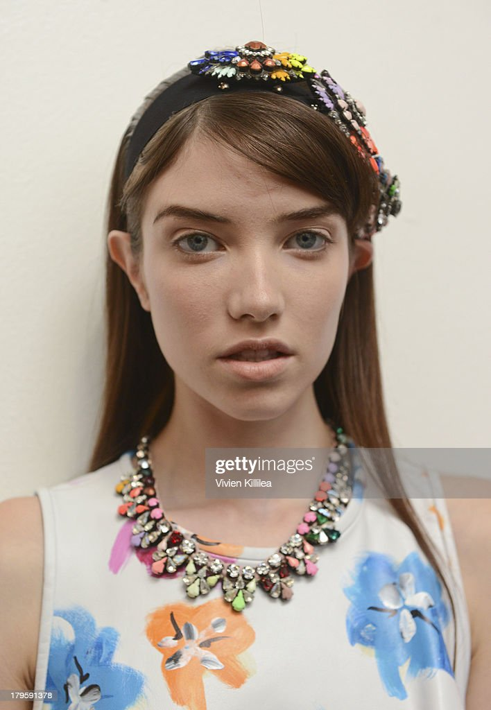 A model wears Tanya Taylor backstage at the Tanya Taylor fashion show during Mercedes-Benz Fashion Week Spring 2014 at Industria Studios on September 5, 2013 in New York City.