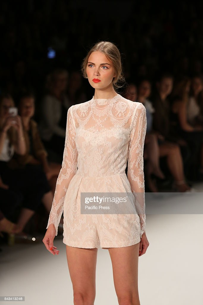 Model wears the collection of Ewa Herzog on the catwalk at the Erika Hess Ice Stadium in Berlin-Weding. The 19th time of the Mercedes-Benz Fashion Week in Berlin. Numerous labels are taking part in the German fashion week for the 2017 spring / summer season.