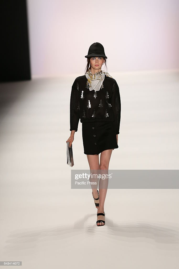 Model wears the collection of Steinrohner on the catwalk at the Erika Hess Ice Stadium in Berlin-Wedding.The 19th time of the Mercedes-Benz Fashion Week in Berlin. Numerous labels are taking part in the German fashion week for the 2017 spring / summer season.