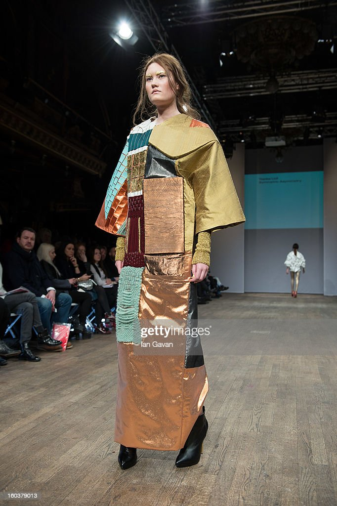 A model wears Theresa Loof Symmetric Asymmetry during the Beckmans College of Design show at Mercedes-Benz Stockholm Fashion Week Autumn/Winter 2013 at Berns on January 30, 2013 in Stockholm, Sweden.