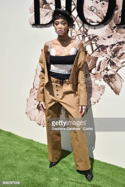 Model Winnie Harlow attends the Christian Dior Haute Couture Fall/Winter 20172018 show as part of Haute Couture Paris Fashion Week on July 3 2017 in...