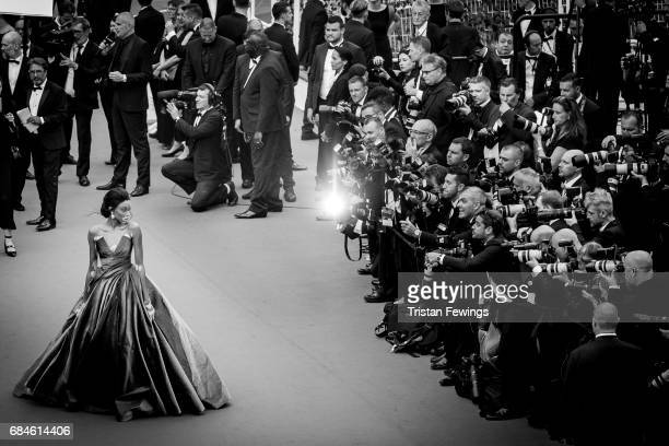 Model Winnie Harlow attends the 'Loveless ' screening during the 70th annual Cannes Film Festival at on May 18 2017 in Cannes France