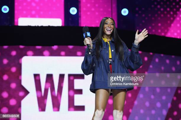 Model Winnie Harlow speaks on stage during WE Day New York Welcome to celebrate young people changing the world at Radio City Music Hall on April 6...