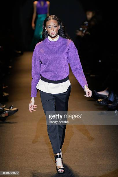 Model Winnie Harlow walks the runway at Naomi Campbell's Fashion For Relief Charity Fashion Show during MercedesBenz Fashion Week Fall 2015 at The...