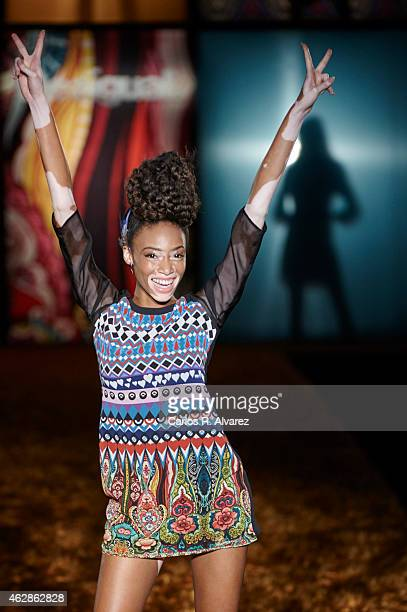Model Winnie Harlow walks the runway at the Desigual show during Madrid Fashion Week Fall/Winter 2015/16 at Ifema on February 6 2015 in Madrid Spain