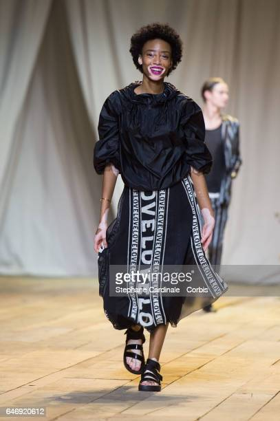 Model Winnie Harlow walks the runway during the HM Studio show as part of the Paris Fashion Week on March 1 2017 in Paris France