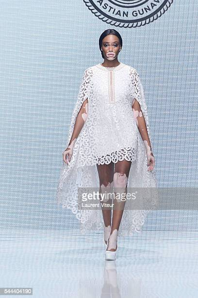 Model Winnie Harlow walks the runway during the Sebastian Gunawan Couturissimo Fall/Winter 20162017 show as part of Paris Fashion Week on July 3 2016...