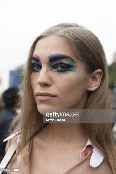 A model with Chanel SS14 eye make up on day 8 of Paris Fashion Week Spring/Summer 2014 Paris October 01 2013 in Paris France