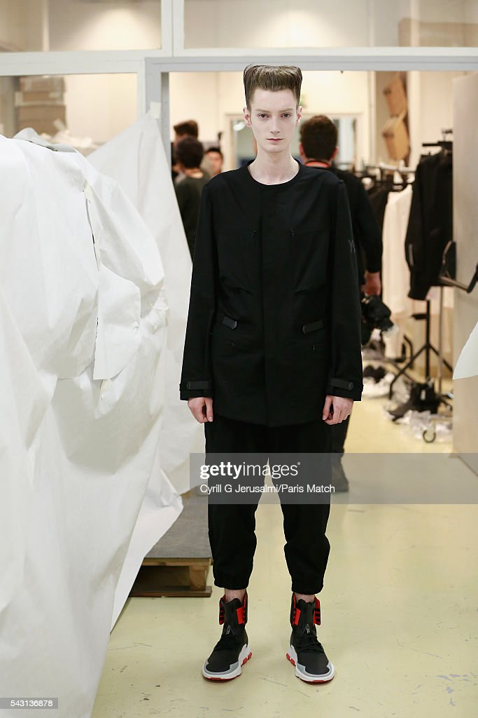 Model with the NOCI 003 backstage during the Y-3 SS17 Paris Fashion Week Show on June 26, 2016 in Paris, France.