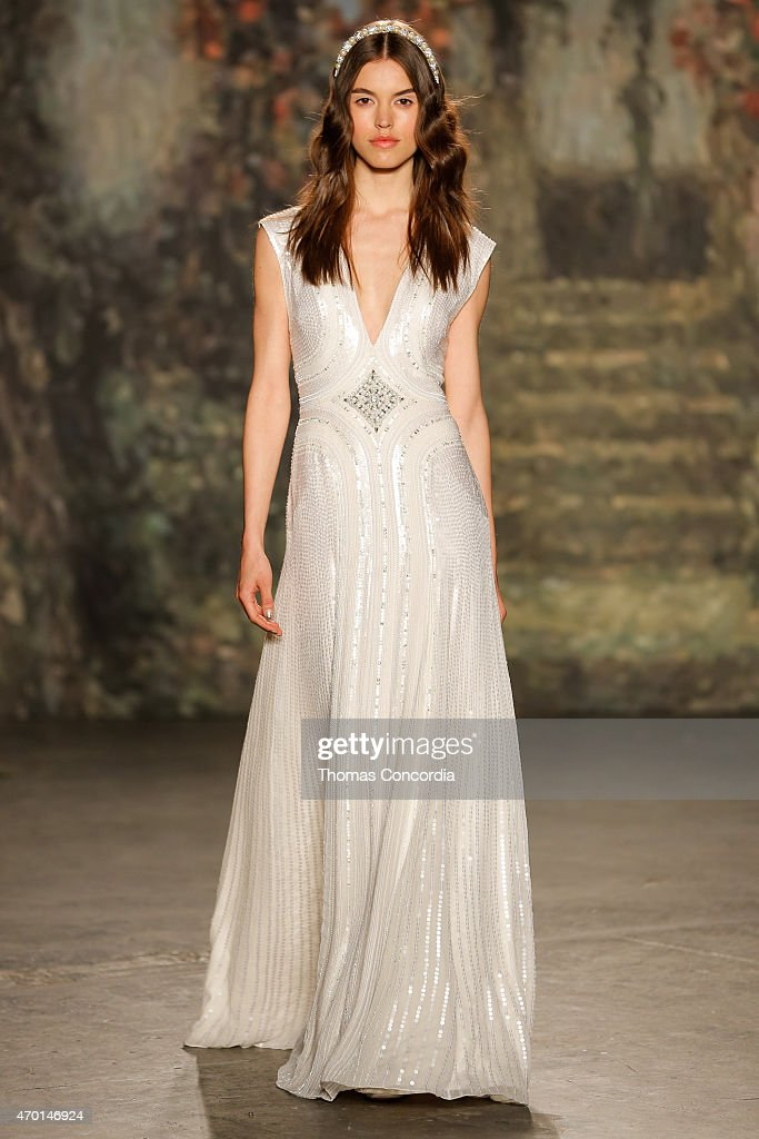 A model wlaks the runway wearing Jenny Packham Bridal Spring 2016 at Industria Superstudio on April 17 2015 in New York City