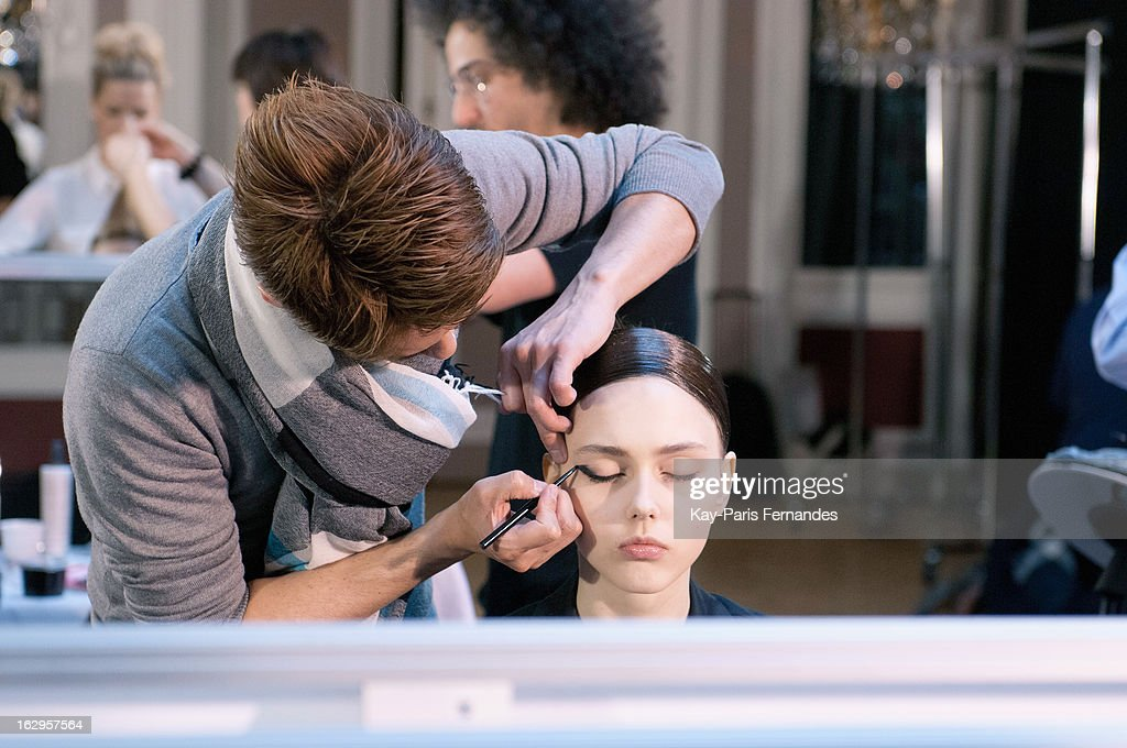 A model works backstage atthe Tsumori Chisato Fall/Winter 2013 Ready-to-Wear show as part of Paris Fashion Week at The Hotel Westin on March 2, 2013 in Paris, France.