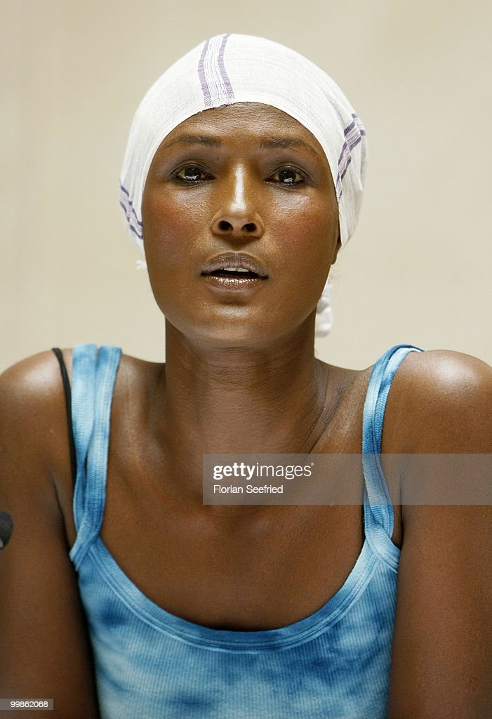Model, writer <a gi-track='captionPersonalityLinkClicked' href=/galleries/search?phrase=Waris+Dirie&family=editorial&specificpeople=2366489 ng-click='$event.stopPropagation()'>Waris Dirie</a> poses for the media during her book presentation of 'Schwarze Frau, Weisses Land' at Hotel Adlon on May 18, 2010 in Berlin, Germany.
