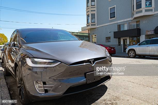 Model X suv by Tesla Motors parked on a side street in the Cow Hollow neighborhood of San Francisco California August 28 2016