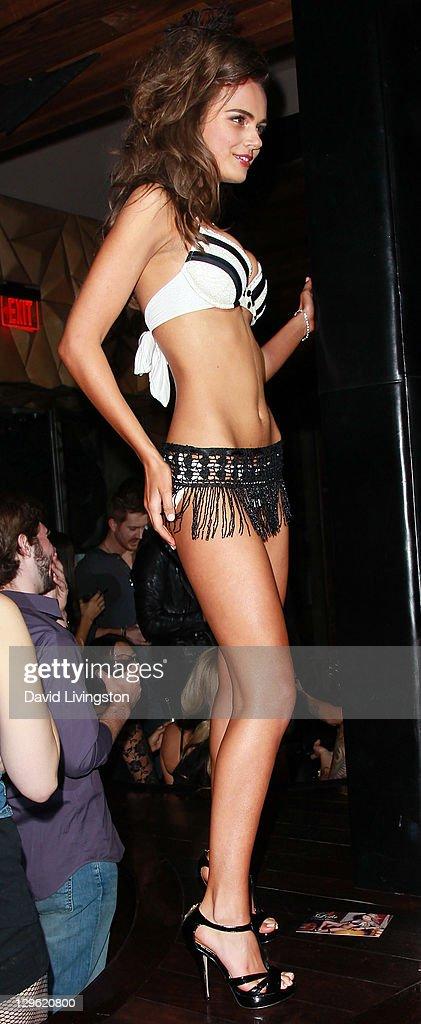 Model Xenia Deli poses at Beach Bunny Swimwear's celebration of LA Fashion Week at Eden on October 18, 2011 in Los Angeles, California.