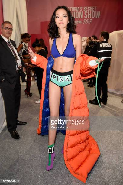 Model Xiao Wen poses backstage during 2017 Victoria's Secret Fashion Show In Shanghai at MercedesBenz Arena on November 20 2017 in Shanghai China