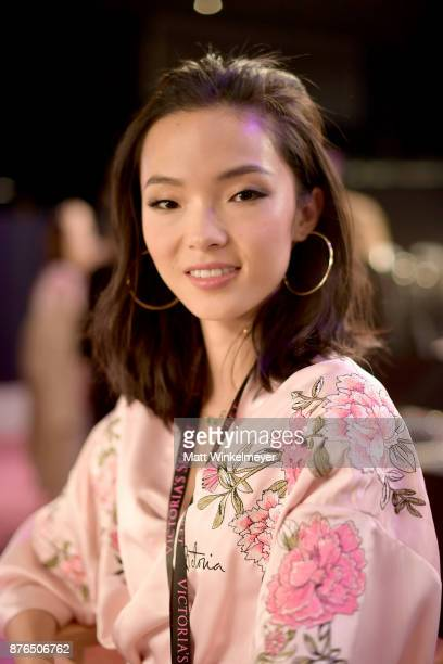Model Xiao Wen poses during 2017 Victoria's Secret Fashion Show In Shanghai at MercedesBenz Arena on November 20 2017 in Shanghai China