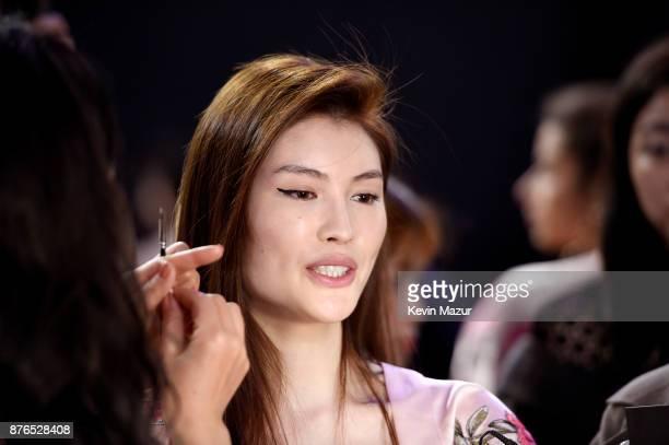 Model Xiao Wen prepares in Hair Makeup during 2017 Victoria's Secret Fashion Show In Shanghai at MercedesBenz Arena on November 20 2017 in Shanghai...