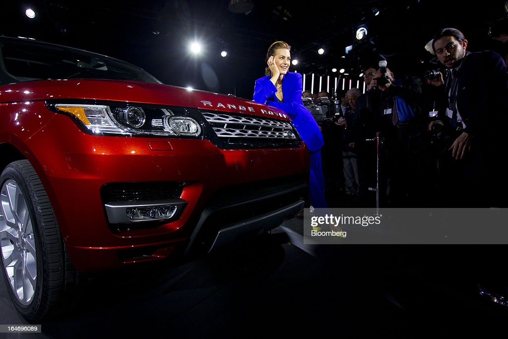 Model Yasmin Le Bon poses for photographs during the unveiling of the Range Rover Sport vehicle, produced by Tata Motors Ltd.'s Jaguar Land Rover unit, in New York, U.S., on Tuesday, March 26, 2013. The Range Rover Sport, the brand's fastest of the line, is the third model introduced in two years, joining the 2013 Range Rover and the Range Rover Evoque. Photographer: Jin Lee/Bloomberg via Getty Images