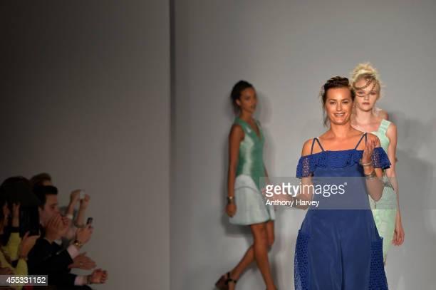 Model Yasmin Le Bon walks the runway at the Gyunel show during London Fashion Week Spring Summer 2015 at Bloomsbury Ballroom on September 12 2014 in...