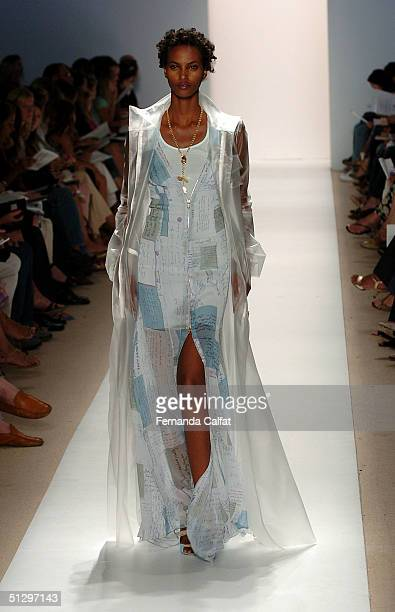 Model Yasmin Warsame walks down the runway at the Tuleh 2005 fashion show during the Olympus Fashion Week Spring 2005 at the Plaza in Bryant Park...