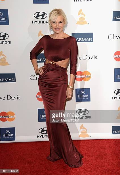 Model Yolanda Hadid arrives at Clive Davis The Recording Academy's 2013 PreGRAMMY Gala and Salute to Industry Icons honoring Antonio 'LA' Reid at The...