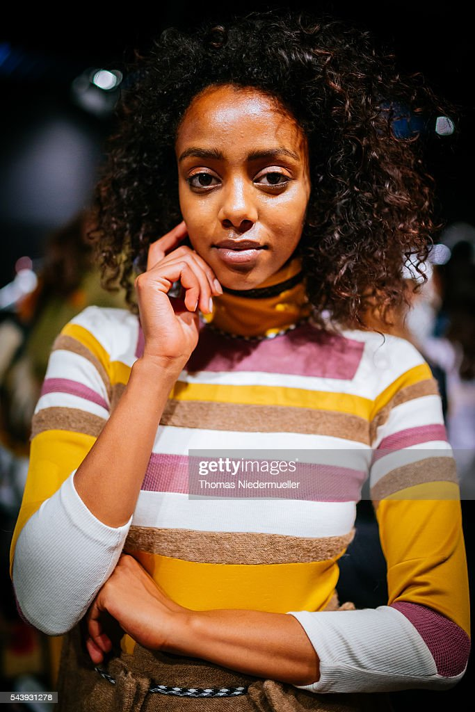 Model Yusra Babekr-Ali is seen backstage ahaed of the 'Designer for Tomorrow' show during the Mercedes-Benz Fashion Week Berlin Spring/Summer 2017 at Erika Hess Eisstadion on June 28, 2016 in Berlin, Germany.