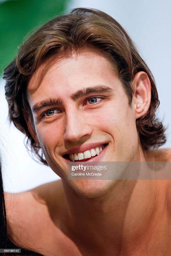 Model <a gi-track='captionPersonalityLinkClicked' href=/galleries/search?phrase=Zac+Stenmark&family=editorial&specificpeople=8682039 ng-click='$event.stopPropagation()'>Zac Stenmark</a> smiles at a meet and greet at David Jones Elizabeth Street Store on August 5, 2014 in Sydney, Australia.