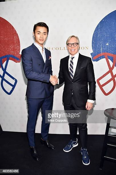 Model Zhao Lei and designer Tommy Hilfiger pose backstage at Tommy Hilfiger Women's during MercedesBenz Fashion Week Fall 2015 at Park Avenue Armory...