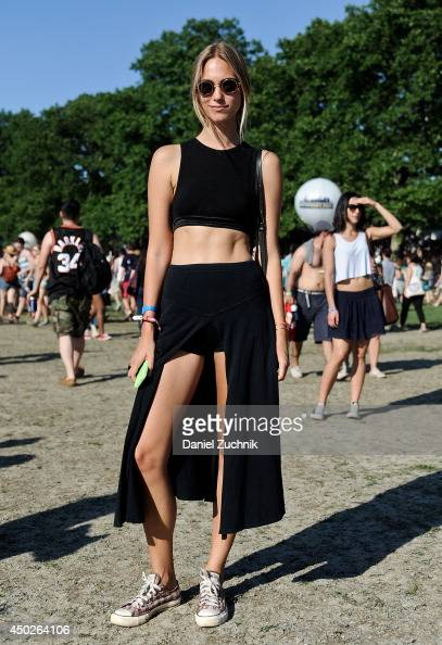 Model Zuzanna Krzatala is seen wearing an Alexander Wang top vintage Polo skirt Converse sneakers and vintage Dior sunglasses during the 2014...