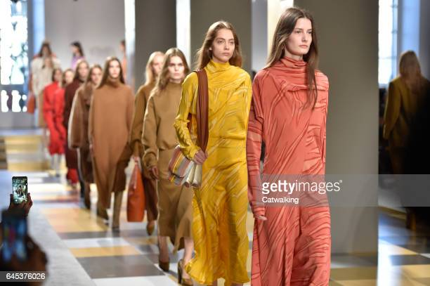 Modela walk the runway at the Jil Sander Autumn Winter 2017 fashion show during Milan Fashion Week on February 25 2017 in Milan Italy