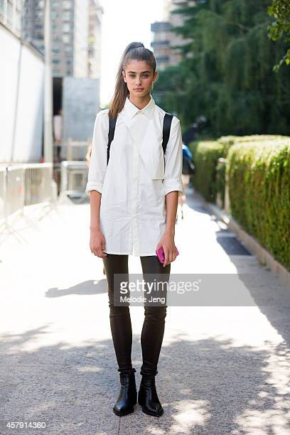 Model/Acctress Taylor Marie Hill exits the BCBG fashion show in a Helmut Lang outfit and 31 Phillip Lim backpack at Lincoln Center on Day 1 of New...