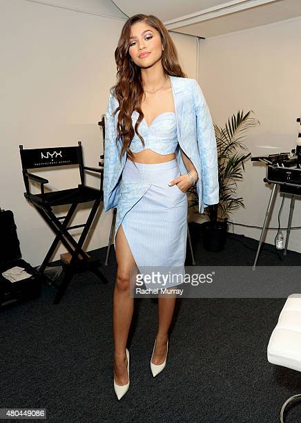 Model/Actres Zendaya attends the NYX Cosmetics VIP lounge during BeautyCon LA at The Reef on July 11 2015 in Los Angeles California