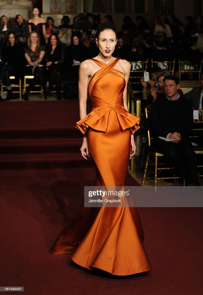 Model/actress Anna Cleveland walks the runway at the Zac Posen Fall 2013 Mercedes-Benz Fashion Show at The Plaza Hotel on February 10, 2013 in New York City.