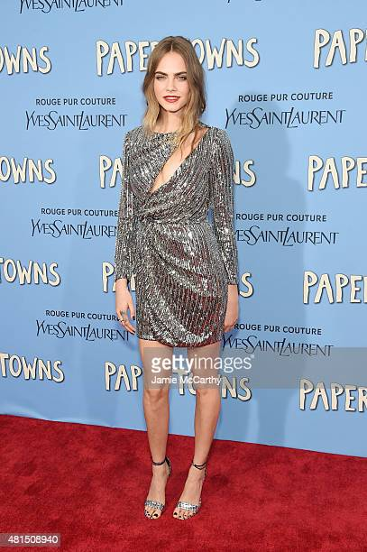 Model/actress Cara Delevingne attends the New York premiere of 'Paper Towns' at AMC Loews Lincoln Square on July 21 2015 in New York City
