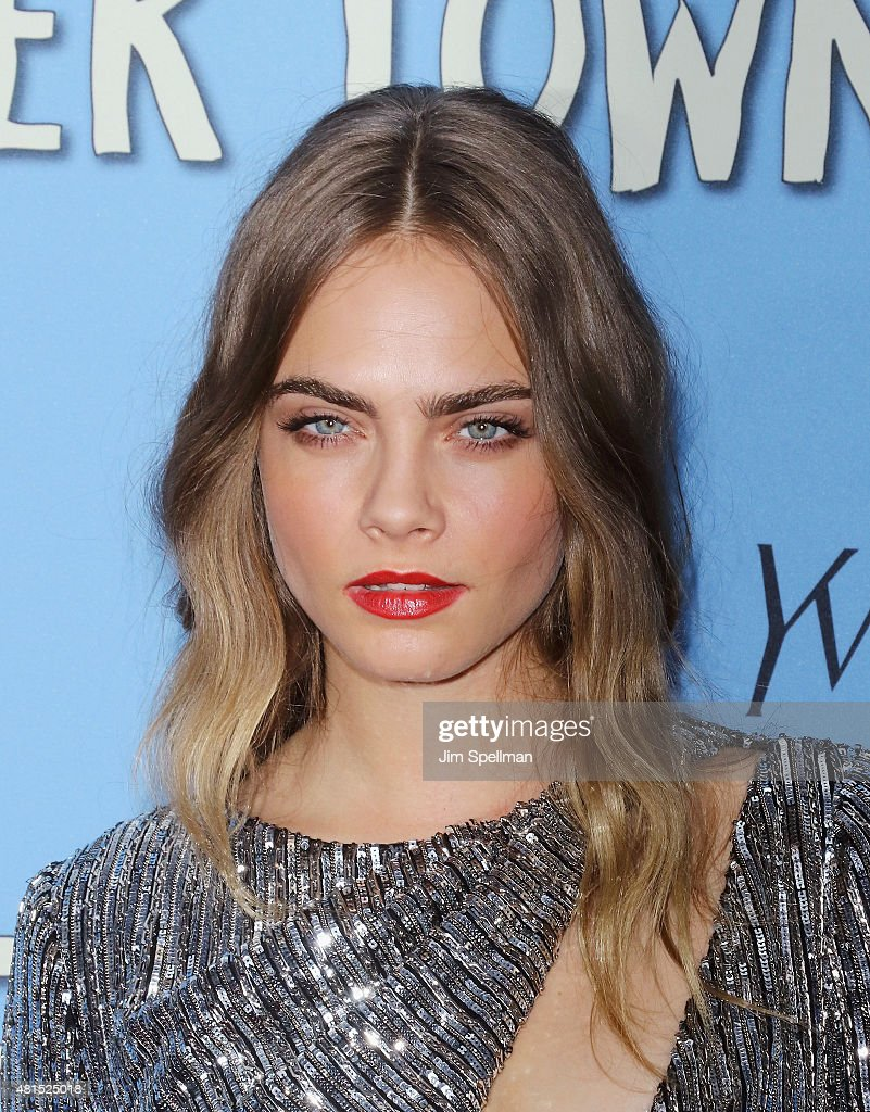 Model/actress <a gi-track='captionPersonalityLinkClicked' href=/galleries/search?phrase=Cara+Delevingne&family=editorial&specificpeople=5488432 ng-click='$event.stopPropagation()'>Cara Delevingne</a> attends the 'Paper Towns' New York premiere at AMC Loews Lincoln Square on July 21, 2015 in New York City.