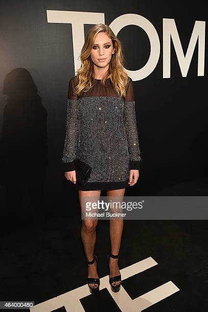 Model/actress Dylan Penn wearing TOM FORD attends the TOM FORD Autumn/Winter 2015 Womenswear Collection Presentation at Milk Studios in Los Angeles...