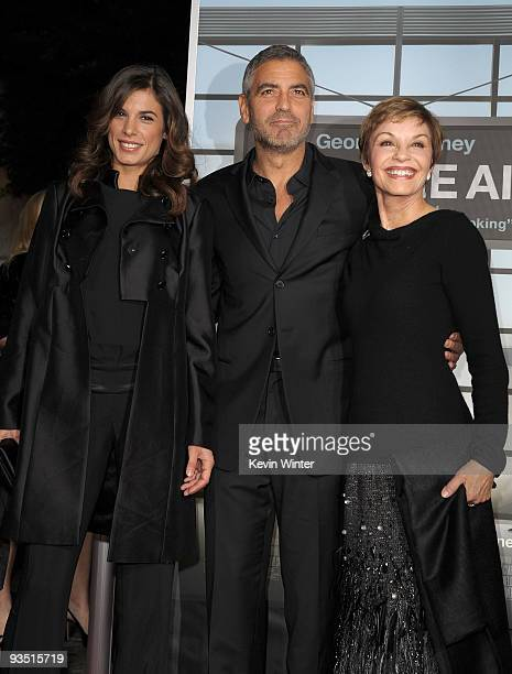 Model/actress Elisabetta Canalis actor George Clooney and mother Nina Warren arrive at the premiere of Paramount Pictures' 'Up In The Air' held at...