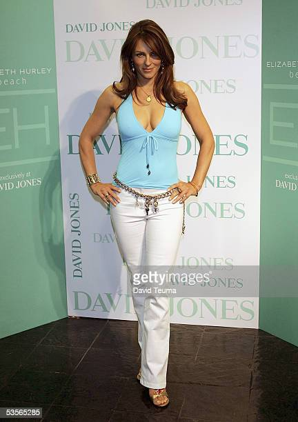 Model/actress Elizabeth Hurley attends the launch of the Elizabeth Hurley Beach Collection on at David Jones August 31 2005 in Melbourne Australia