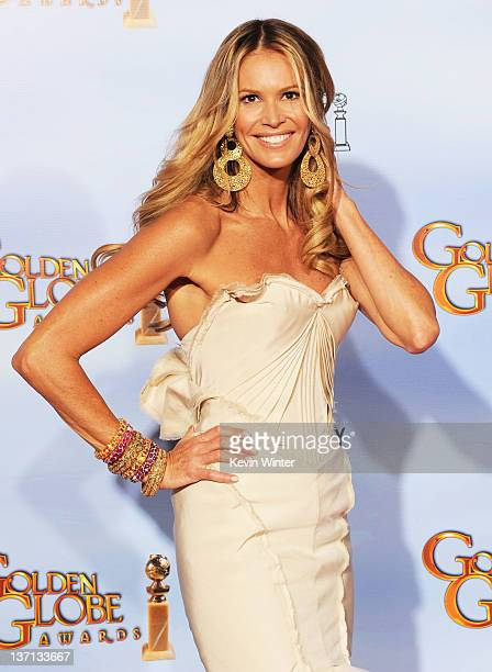 Model/actress Elle Macpherson poses in the press room at the 69th Annual Golden Globe Awards held at the Beverly Hilton Hotel on January 15 2012 in...