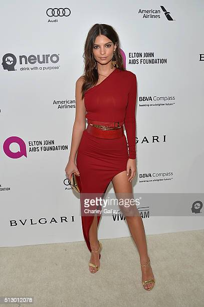 Model/actress Emily Ratajkowski attends Neuro at the 24th Annual Elton John AIDS Foundation's Oscar Viewing Party at The City of West Hollywood Park...