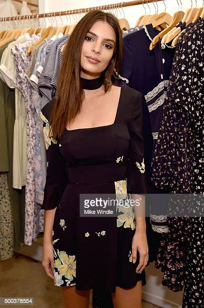 Model/actress Emily Ratajkowski attends the Christy Dawn x Emily Ratajakowski dress launch party on December 7 2015 in Venice California