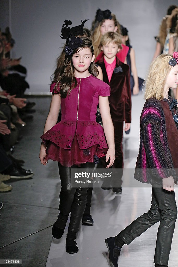 Model/Actress Fatima Ptacek walks the runway during the Bonnie Young Fall/Winter 2013 Fashion Show at Industria Superstudio on March 10, 2013 in New York City.