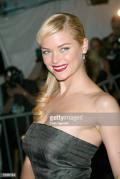 Model/Actress Jaime King arrives at the Metropolitan Museum of Art Costume Institute Benefit Gala sponsored by Gucci April 28 2003 at The...