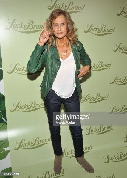Model/actress Lauren Hutton arrives at the Lucky Brand Beverly Hills store opening on October 29 2013 in Beverly Hills California